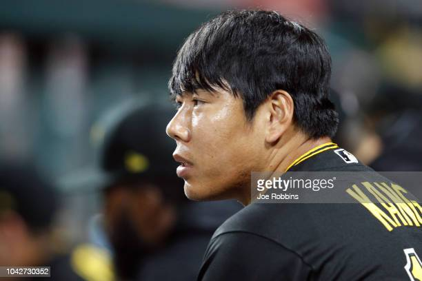 Jung Ho Kang of the Pittsburgh Pirates looks on in the fifth inning against the Cincinnati Reds at Great American Ball Park on September 28 2018 in...