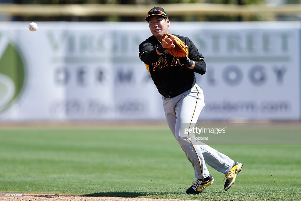 Jung Ho Kang #27 of the Pittsburgh Pirates makes a play at second base during the game against the Toronto Blue Jays at Florida Auto Exchange Stadium on March 3, 2015 in Dunedin, Florida. The Pirates defeated the Blue Jays 8-7.