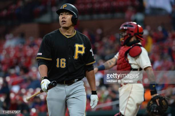 Jung Ho Kang of the Pittsburgh Pirates reacts after striking out in the eighth inning of a game against the St Louis Cardinals at Busch Stadium on...