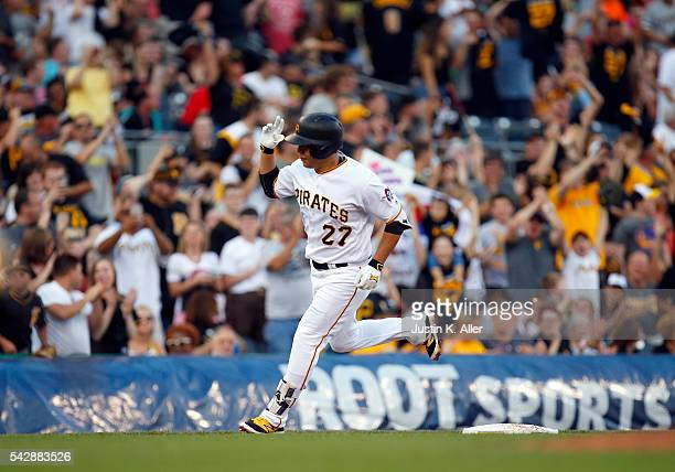 Jung Ho Kang of the Pittsburgh Pirates rounds third after hitting a home run in the third inning during the game against the Los Angeles Dodgers at...