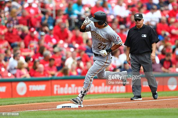 Jung Ho Kang of the Pittsburgh Pirates rounds third base after hitting a threerun home against the St Louis Cardinals in the first inning at Busch...