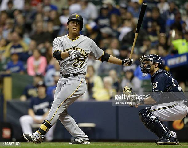 Jung Ho Kang of the Pittsburgh Pirates strikes out against the Milwaukee Brewers during a baseball game at Miller Park on April 11, 2015 in...