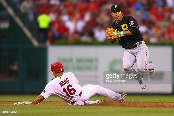 Jung Ho Kang of the Pittsburgh Pirates turns a double play over Kolten Wong of the St Louis Cardinals in the fourth inning at Busch Stadium on August...