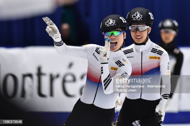 Jung Ho Kyoung of Korea reacts as his teammate Kim Tae Sung looks on after finishing first in the men's 1000m final during the ISU World Junior Short...