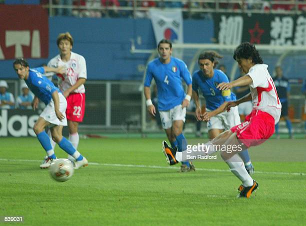 Jung Hwan Ahn of South Korea misses from the penalty spot during the FIFA World Cup Finals 2002 Second Round match between South Korea and Italy...