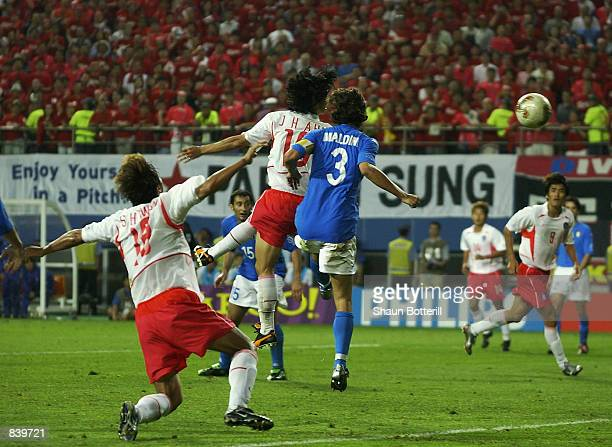 Jung Hwan Ahn of South Korea scores the winning goal during the FIFA World Cup Finals 2002 Second Round match between South Korea and Italy played at...