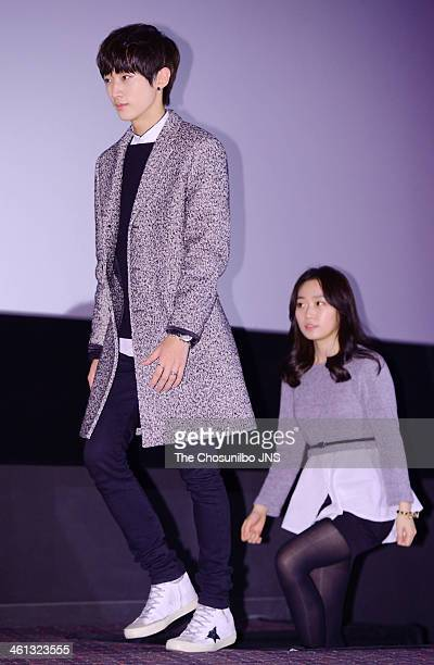 Jung JinYoung and Kim SeulGi attend the movie 'Miss Granny' press conference at Wangsimni CGV on January 6 2014 in Seoul South Korea