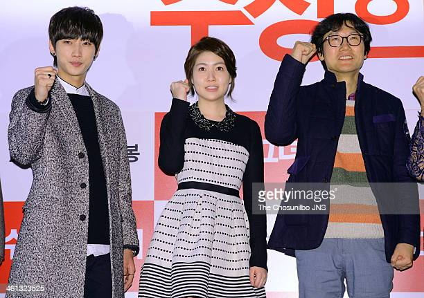 Jung JinYoung Sim EunKyung and Hwang DongHyeok attend the movie 'Miss Granny' press conference at Wangsimni CGV on January 6 2014 in Seoul South Korea
