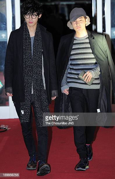 Jung JoonYoung and Roy Kim attend the 'The Berlin File' Red Carpet Vip Press Screening at Times Square on January 23 2013 in Seoul South Korea