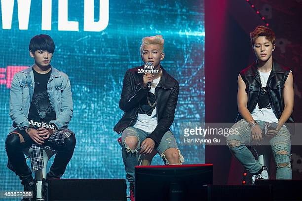 "Jung Kook, Rap Monster and Jimin of BTS attends the BTS 1st Album ""Dark And Wild"" Show Case"" at the Samsung Card Hall on August 19, 2014 in Seoul,..."