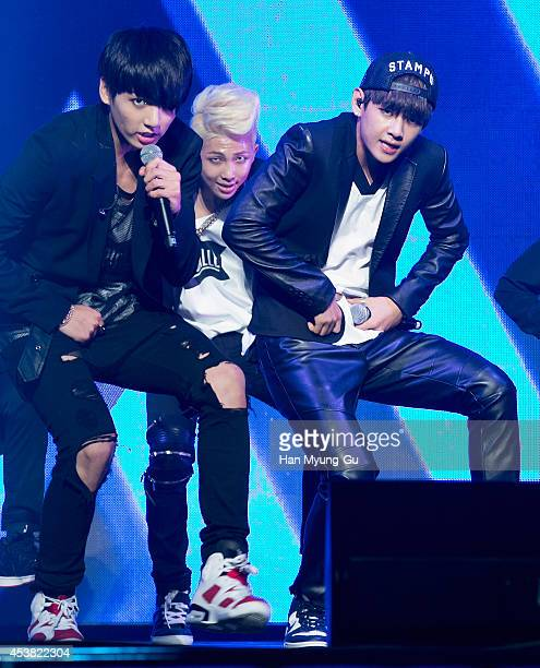 "Jung Kook, Rap Monster and V of BTS attend the BTS 1st Album ""Dark And Wild"" Show Case"" at the Samsung Card Hall on August 19, 2014 in Seoul, South..."
