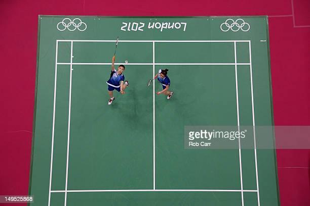 Jung Kyung Eun and Kim Ha Na of Republic of Korea compete against Valeria Sorokina and Nina Vislova of Russia during their Women's Doubles Badminton...