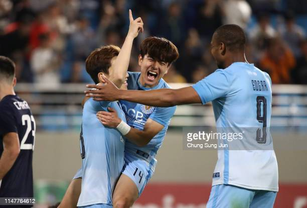 Jung Seon-ho of Daegu FC celebrates after scoring a fourth goal during the AFC Champions League Group F match between Daegu FC and Melbourne Victory...