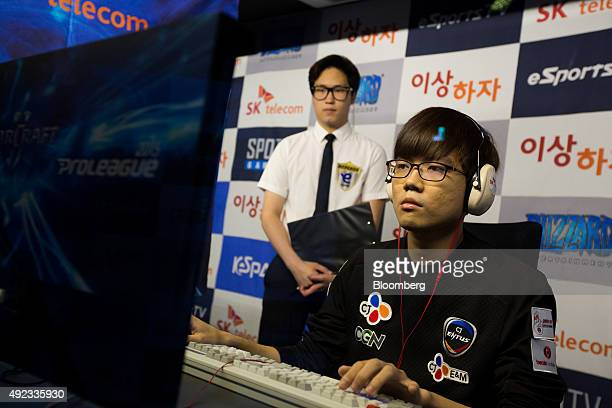 Jung Woo Yong a gamer of the CJ Entus professional videogame team sponsored by CJ Group completes during the second round of the StarCraft II 2015...