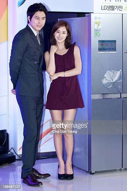 Jung WooSung and Kim TaeHee attend the LG Electronics new products demonstration at LG Electronics RD campus on April 19 2011 in Seoul South Korea
