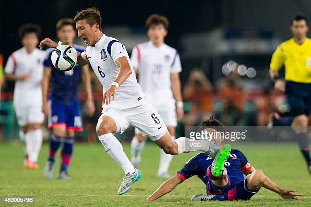 Jung Wooyoung of South Korea in action during the group match between Japan and South Korea during EAFF East Asian Cup 2015 at Wuhan Sports Center...