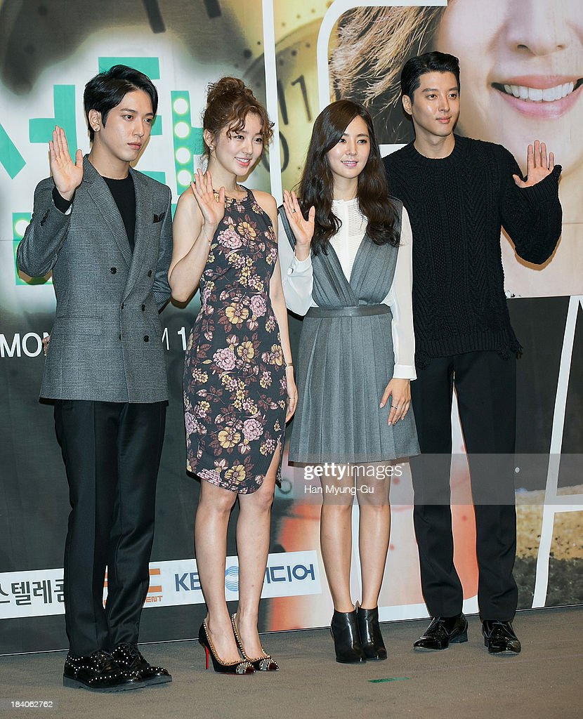Jung Yong-Hwa of South Korean boy band CNBLUE, actors Yoon Eun-Hye, Han Chae-A and Lee Dong-Gun attend KBS Drama 'The Choice Of The Future' Press Conference on October 10, 2013 in Seoul, South Korea. The drama will open on October 14, in South Korea.