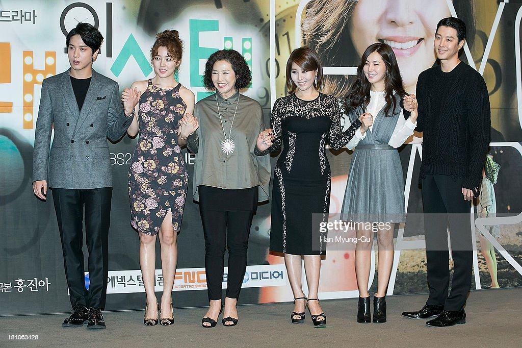 Jung Yong-Hwa of South Korean boy band CNBLUE, actors Yoon Eun-Hye, Ko Doo-Sim, Choi Myoung-Gil, Han Chae-A and Lee Dong-Gun attend KBS Drama 'The Choice Of The Future' Press Conference on October 10, 2013 in Seoul, South Korea. The drama will open on October 14, in South Korea.