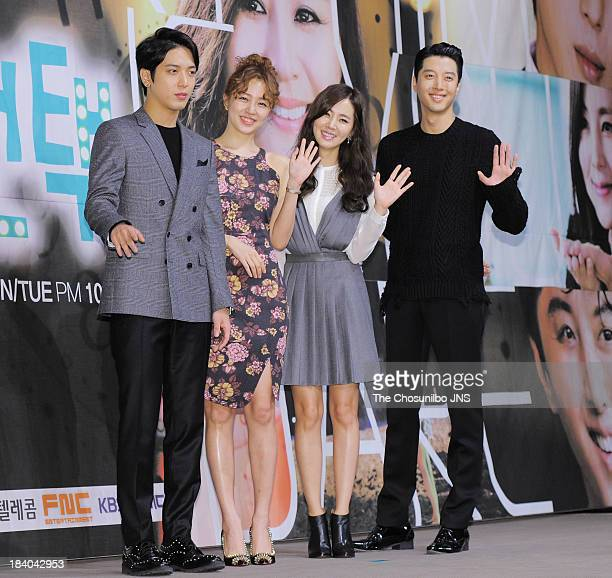 Jung Yong-Hwa, Yoon Eun-Hye, Han Chae-A and Lee Dong-Gun attend the KBS Drama 'Marry Him If You Dare' Press Conference at Convention Bellagium on...