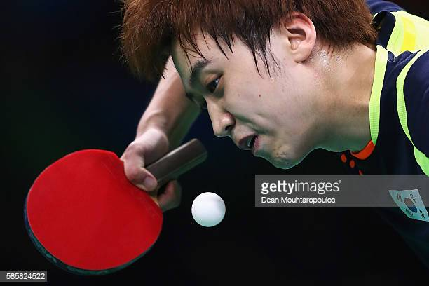 Jung Youngsik of Republic of Korea hits a shot in the Table Tennis practice session during the Olympics preview day 1 at Rio Centro on August 4 2016...