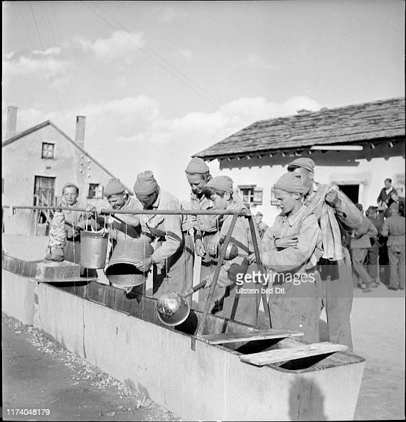 Junge Männer waschen Geschirr ab#young men wash up the