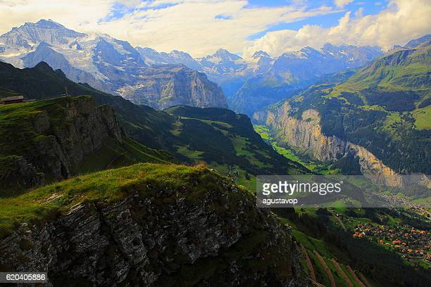 Jungfrau above Lauterbrunnen, Wengen, idyllic valley, Bernese Oberland,Swiss Alps
