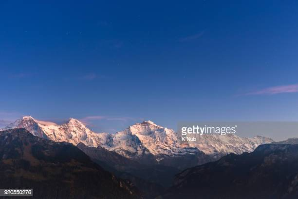 Jungfrau, Eiger and Monch peak from Harder Kulm top view point of Interlaken, Switzerland