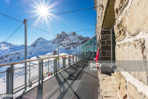 Jungfrau peak, top of Europe, view of glacier from top balcony at Switzerland