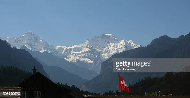 Jungfraujoch and the Swiss flag