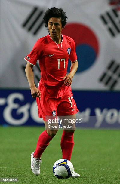 JungHwan Ahn of South Korea in action during the FIFA 2010 World Cup qualifiying match between South Korea and Jordan at SangAm Stadium on May 31...