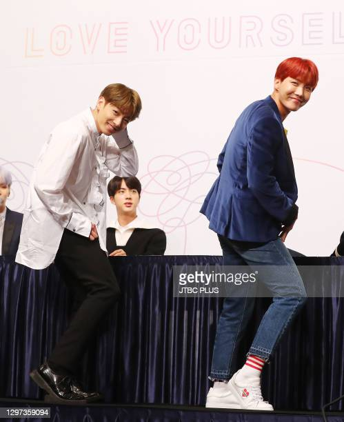Jungkook and J-Hope of BTS attend the press conference for BTS's New Album 'LOVE YOURSELF: Her' release at Lotte Hotel Seoul on September 18, 2017 in...