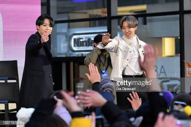 Jungkook and JHope of the Kpop boy band BTS visit the Today Show at Rockefeller Plaza on February 21 2020 in New York City