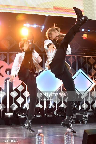 Jungkook and Jimin of BTS perform onstage during 1027 KIIS FM's Jingle Ball 2019 Presented by Capital One at the Forum on December 6 2019 in Los...