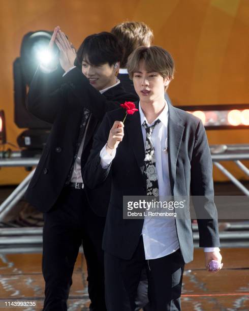 Jungkook and Suga of BTS perform on Good Morning America's Summer Concert Series from Rumsey Playfield in Central Park on May 15 2019 in New York City