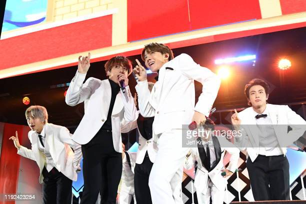 RM Jungkook JHope and Jin of BTS perform onstage during 1027 KIIS FM's Jingle Ball 2019 Presented by Capital One at the Forum on December 6 2019 in...