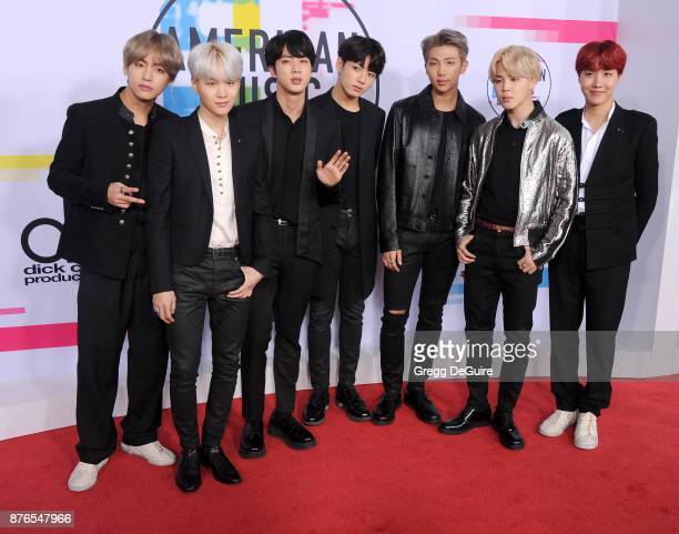 Jungkook Jimin V Suga Jin JHope and Rap Monster of BTS arrive at the 2017 American Music Awards at Microsoft Theater on November 19 2017 in Los...