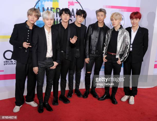 Jungkook Jimin V Suga Jin JHope and Rap Monster of BTS arrive at the 2017 American Music Awards at Microsoft Theater on November 19 2017 in Los...
