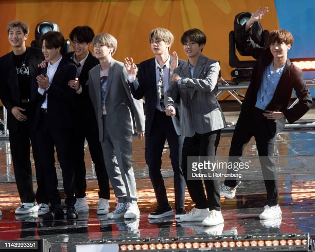 Jungkook Jimin V Suga Jin RM and JHope of BTS perform on Good Morning America's Summer Concert Series from Rumsey Playfield in Central Park on May 15...