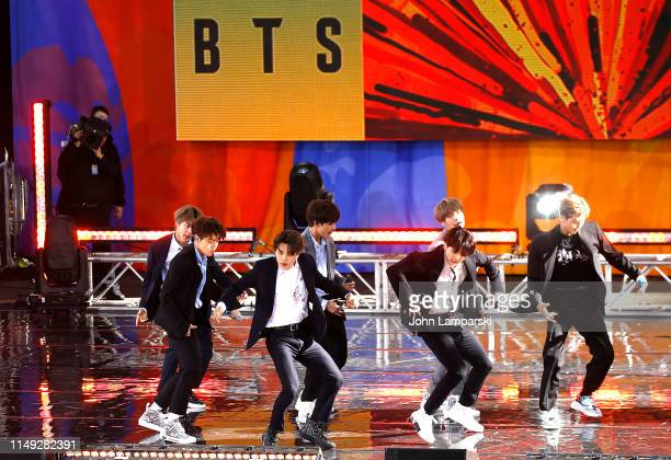 Jungkook Jimin V Suga Jin RM and JHope of BTS perform on Good Morning America on May 15 2019 in New York City