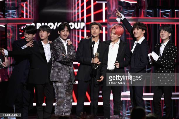 Jungkook Jin V RM Jimin JHope and Suga of BTS accept the Top Duo/Group award onstage during the 2019 Billboard Music Awards at MGM Grand Garden Arena...