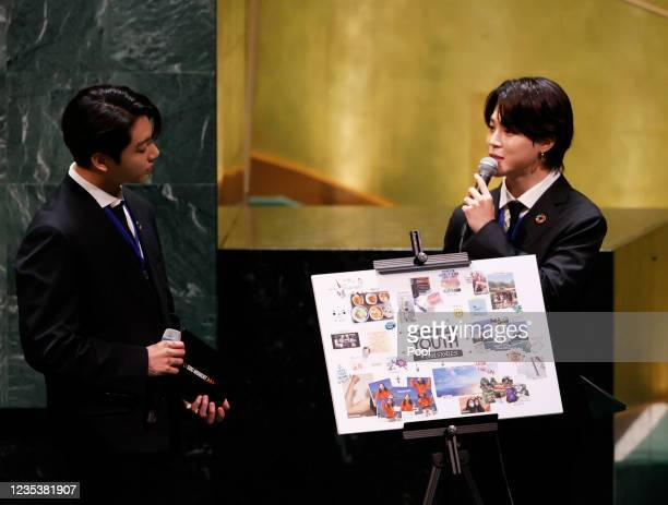 Jungkook listens as Jimin of the South Korean boy band BTS speaks at the SDG Moment event as part of the UN General Assembly 76th session General...