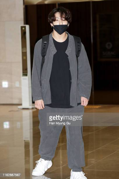 JungKook of boy band BTS aka Bangtan Boys is seen upon arrival at Gimpo Airport on July 17 2019 in Seoul South Korea