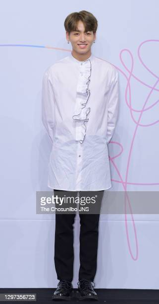 Jungkook of BTS attends the press conference for BTS's New Album 'LOVE YOURSELF: Her' release at Lotte Hotel Seoul on September 18, 2017 in Seoul,...