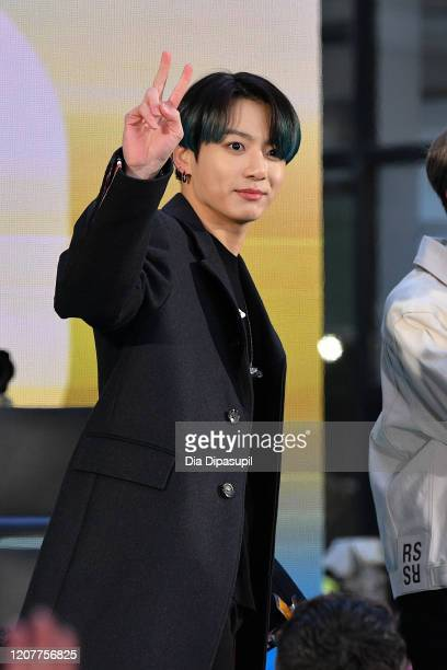 Jungkook of the Kpop boy band BTS visits the Today Show at Rockefeller Plaza on February 21 2020 in New York City