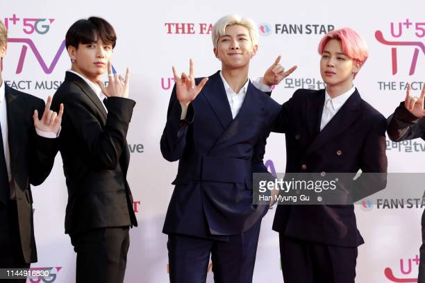 JungKook RM and Jimin of boy band BTS attend the photocall for U Plus 5G 'The Fact Music Awards' on April 24 2019 in Incheon South Korea
