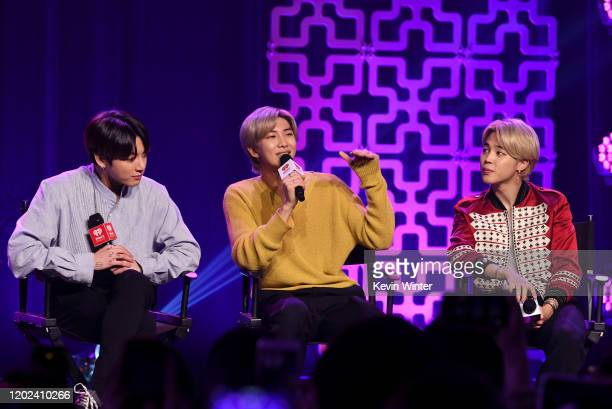 Jungkook RM and Jimin of BTS speak onstage at iHeartRadio LIVE with BTS presented by HOT TOPIC at iHeartRadio Theater on January 27 2020 in Burbank...