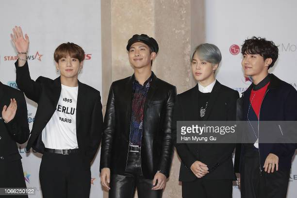 JungKook RM Jimin and JHope of boy band BTS attend the 2018 Asia Artist Awards on November 28 2018 in Incheon South Korea