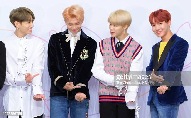 Jungkook, RM, Jimin and J-Hope of BTS attend the press conference for BTS's New Album 'LOVE YOURSELF: Her' release at Lotte Hotel Seoul on September...