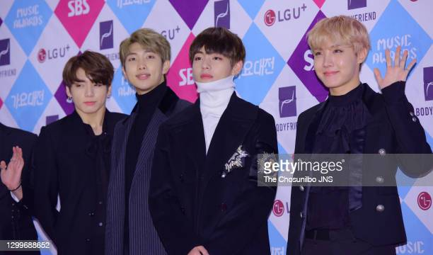 Jungkook, RM, V and J-Hope of BTS attend the 2016 SAF Gayo Daejeon at COEX on December 26, 2016 in Seoul, South Korea.