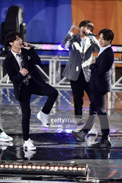 Jungkook V and Jimin of BTS perform on Good Morning America on May 15 2019 in New York City